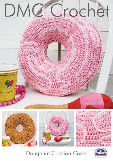 Crochet Donut Pillow : 15210 DMC Doughnut Cushion Cover Petra Crochet Pattern ?1