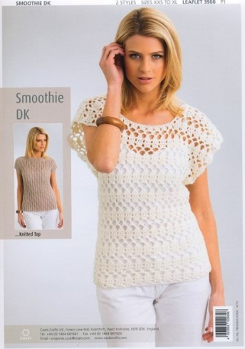 Knitted Summer Tops Patterns : 3900 Patons Summer Tops Smoothie DK Knitting Crochet Pattern