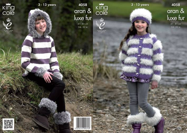King Cole Luxe Fur Knitting Pattern 9019 Three Teddy Bears : 4058 King Cole Luxe Fur Aran Jacket Sweater Hat and Boot Toppers Knitting Pat...