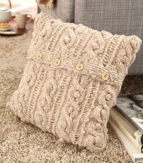 Knitting Patterns For Cushions And Throws : Aventica Supreme Throw Cushion and Pouffe Knitting Pattern 1