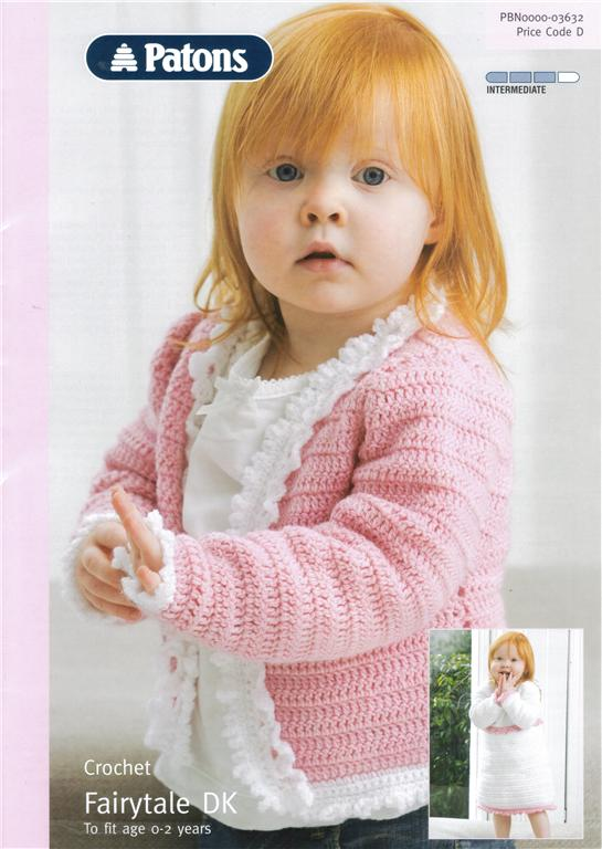 Patons Free Crochet Patterns Babies : Baby DRESS & CARDIGAN Crochet Pattern 3632 Patons Fairytale DK