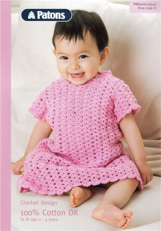 Patons Free Crochet Patterns Babies : Baby DRESS Crochet Pattern 3542 Patons DK CLEARANCE