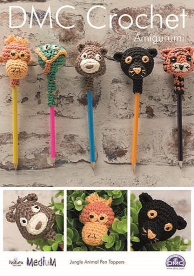 ... MEDIUM Jungle Animal Pen Toppers Amigurumi Crochet Pattern 15346