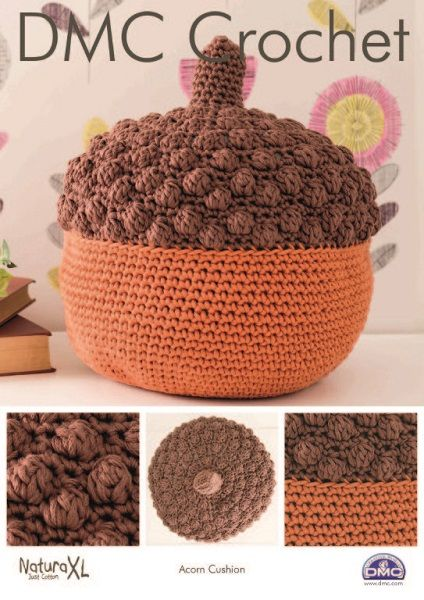 DMC Natura XL Acorn Cushion Crochet Pattern 15330 REDUCED