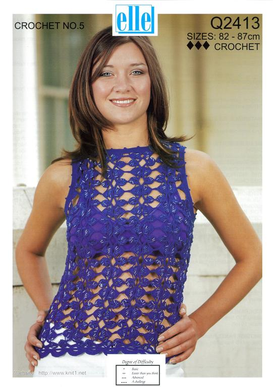 Free Crochet Patterns For Sleeveless Tops : Elle Sleeveless Top Open Crochet Pattern 2413