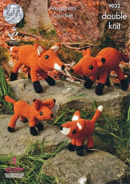 King Cole Amigurumi Crochet FOX Family Pattern 9032