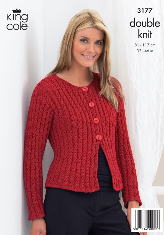 King Cole Boxy Cardigan and Shrug Knitting Pattern 3177