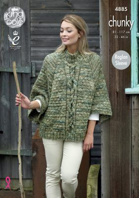 King Cole BV Tonal Chunky Cape and Waistcoat Knitting Pattern 4885