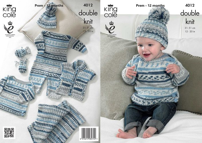 King Cole Cherish Dk Baby Set Boy Knitting Pattern 4012
