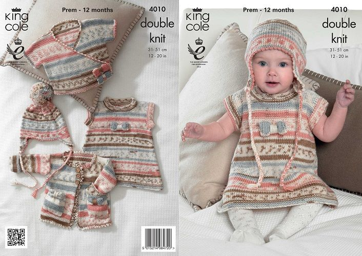 King Cole Cherish DK Baby Set Dress Knitting Pattern 4010