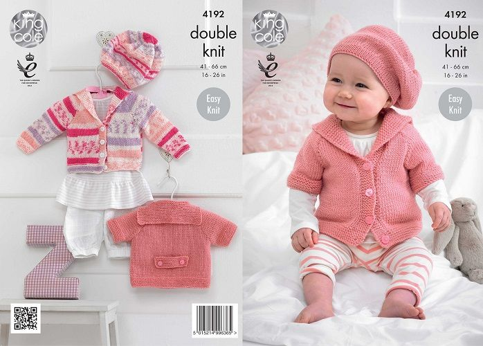 King Cole Cherished DK Baby Cardigans Beret Knitting Pattern 4192