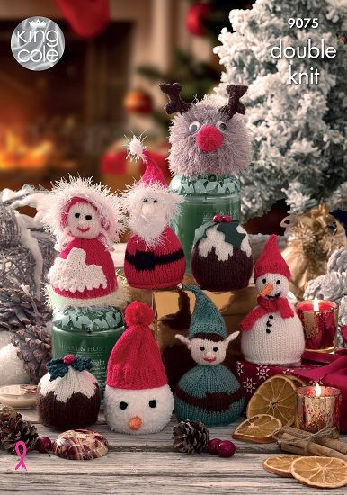 King Cole Christmas Candy Cosies Knitting Pattern 9075