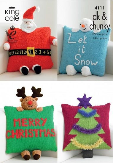 King Cole Christmas Novelty Cushions Knitting Pattern 4111
