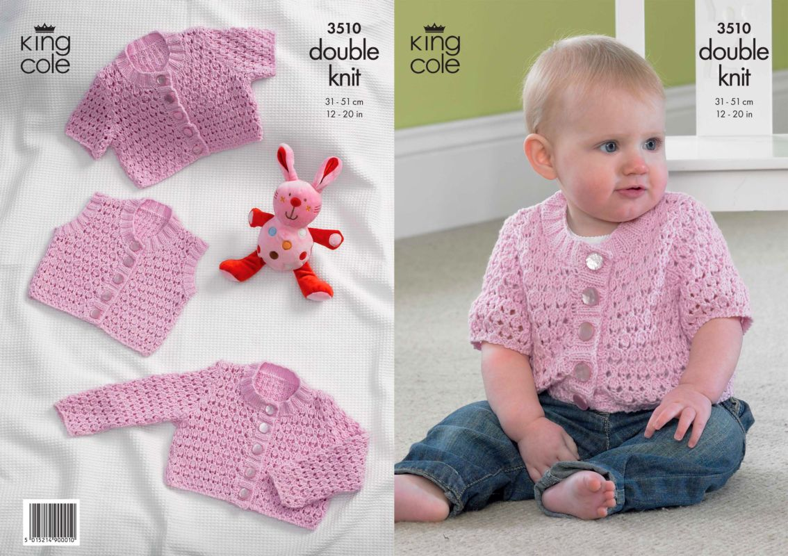 Knitting Patterns For Babies Waistcoats : King Cole CottonSoft DK Baby Cardigans and Waistcoat Knitting Pattern 3510