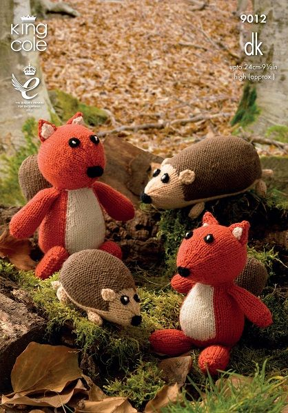 King Cole Toy Knitting Pattern : King Cole Hedgehog and Sqirrel Toys Knitting Pattern 9012