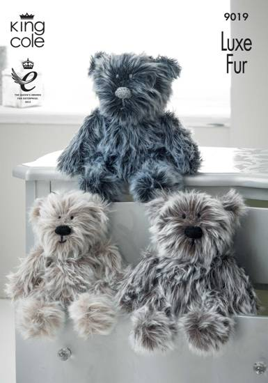 King Cole Teddy Bear Knitting Pattern : King Cole Luxe Fur BEARS Knitting Pattern 9019