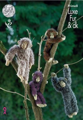 King Cole Luxe Fur Chimpanzees Knitting Pattern Prime8