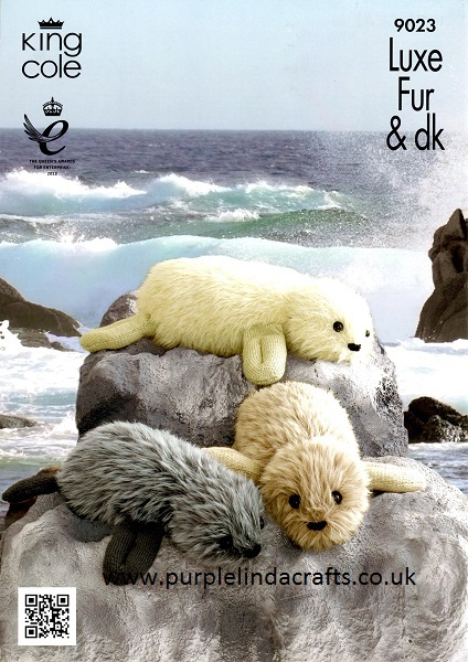 King Cole Teddy Bear Knitting Pattern : King Cole Luxe Fur DK SEALS Knitting Pattern 9023