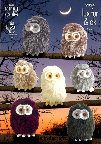 King Cole Tinsel Owl Knitting Pattern : King Cole Luxe Fur OWLS Knitting Pattern 9024