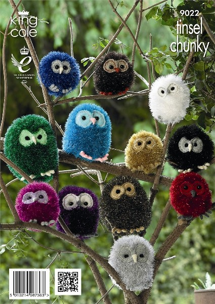King Cole Teddy Bear Knitting Pattern : King Cole OWLS Tinsel Knitting Pattern 9022