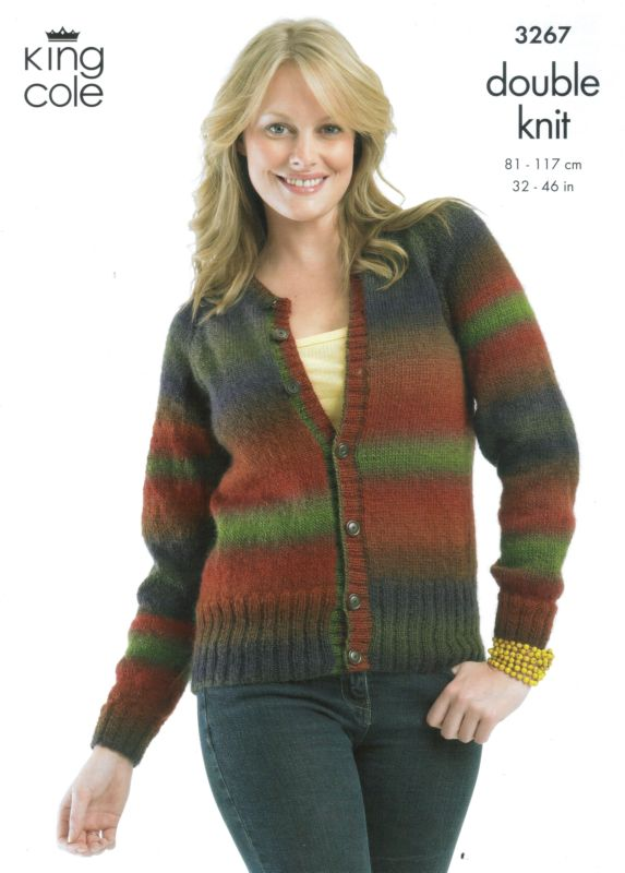 King Cole Riot Sweater Cardigan Knitting Pattern 3267