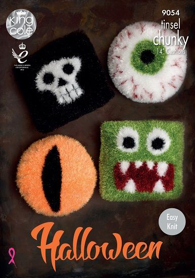 king cole tinsel halloween cushions knitting pattern 9054