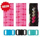 Paracord Bracelet Set Neon Pink Black 2mm