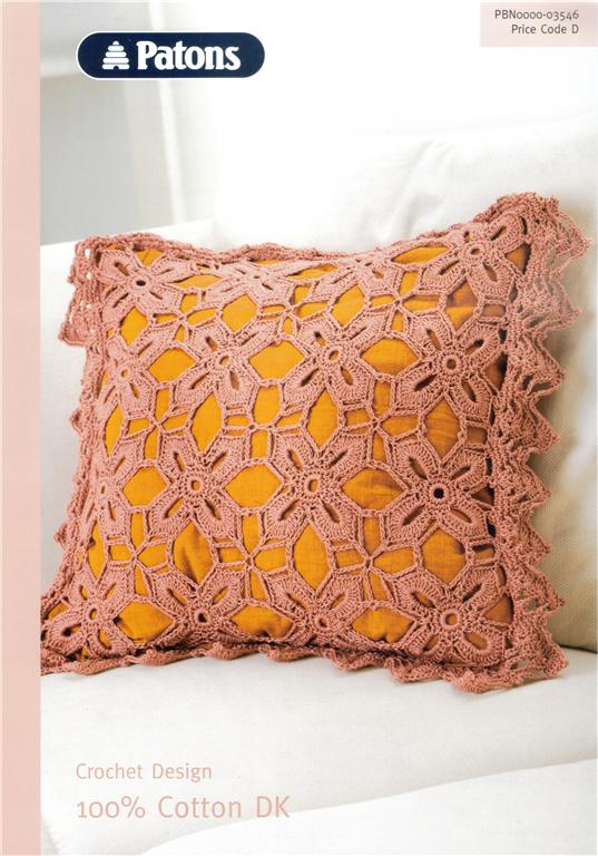 Patons Cotton DK CUSHION Cover Crochet Pattern 3546 CLEARANCE