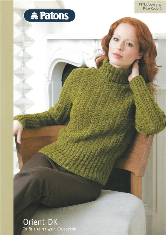 Patons Orient Lacy Sweater Knitting Pattern 3517