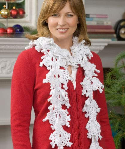 Free Crochet Patterns For Christmas Scarves : Red Heart HOLIDAY Falling Snowflake Scarf Crochet Pattern FREE