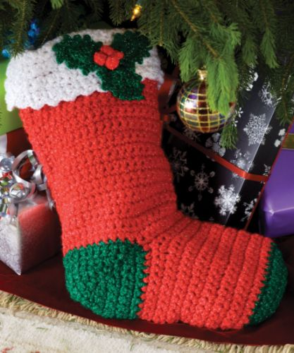 Red Heart Holiday Holly Stocking Crochet Pattern Free