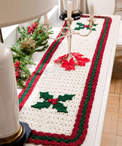 Red Heart HOLIDAY Holly Table Runner Crochet Pattern FREE