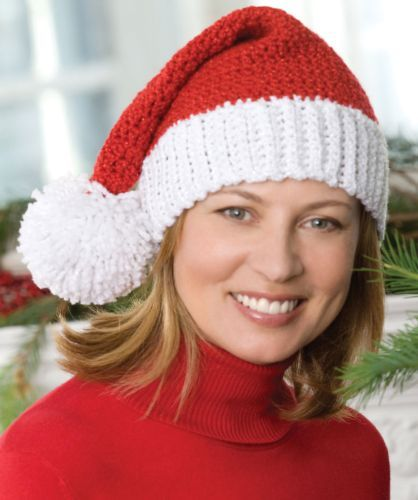 Free Crochet Heart Hat Pattern : Red Heart HOLIDAY Santa Hat Crochet Pattern FREE