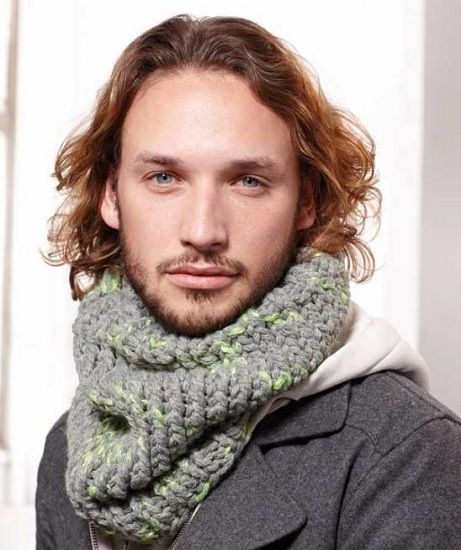 Free Knitting Patterns For Men s Cowls : Schachenmayr LOVA Mens Cowl FREE Knitting Pattern Scarf