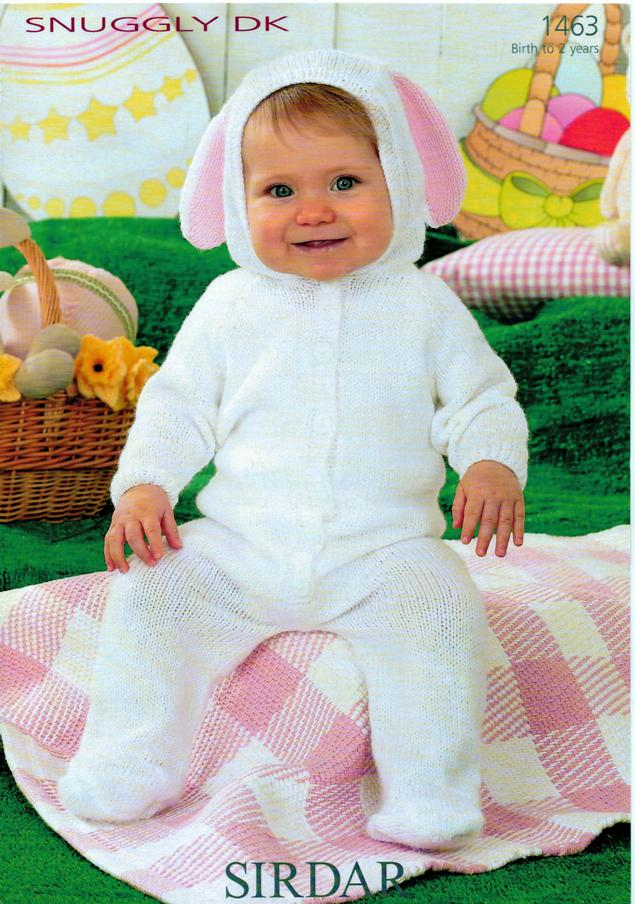 Knitting Pattern Baby All In One : Sirdar Baby DK Bunny ALL IN ONE Knitting Pattern 1463