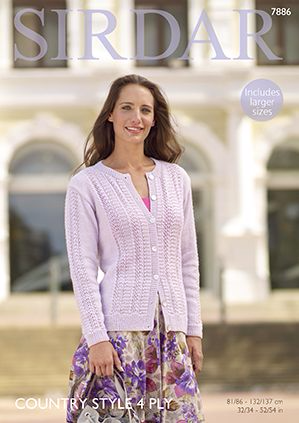 Sirdar Country Style 4 ply Summer Cardigan Knitting Pattern 7886