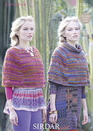 Sirdar Knitting Patterns : Sirdar Divine Ponchos Knitting Pattern 7329