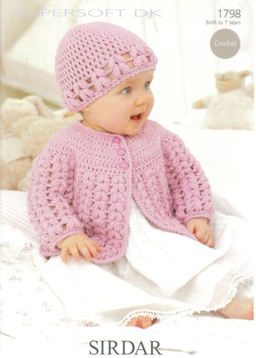 Sirdar Baby Knitting Patterns : Sirdar DK JACKET & HAT Baby Crochet Pattern 1798