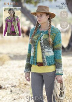 Knitting Patterns Lion Brand : Sirdar Indie Cardigan and Waistcoat Knitting Pattern 9543