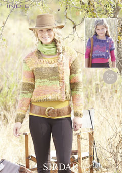 Knitting Patterns Lion Brand : Sirdar Indie Cardigans Knitting Pattern 9708 DISCONTINUED 1