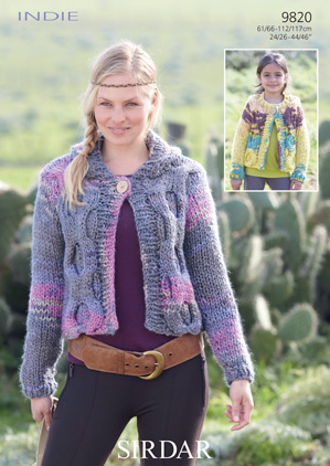 Knitting Patterns Lion Brand : Sirdar Indie Hooded Cardigan Knitting Pattern 9820 DISCONTINUED FREE PATTERN