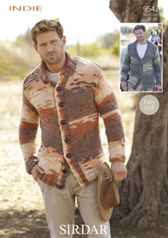 Knitting Patterns Lion Brand : Sirdar Indie Mens Cardigans Knitting Pattern 9542 DISCONTINUED 1