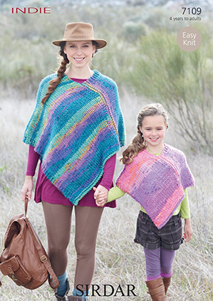 Knitting Patterns Lion Brand : Sirdar Indie Ponchos Knitting Pattern 7109 DISCONTINUED 1
