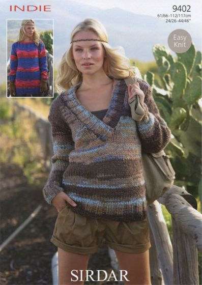Knitting Patterns Lion Brand : Sirdar Indie Sweaters Knitting Pattern 9402