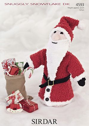Sirdar Snuggly Snowflake Father Christmas Toy Knitting Pattern 4593