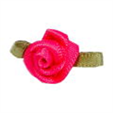 Small Ribbon Roses With Green Leaves 175 Shocking Pink