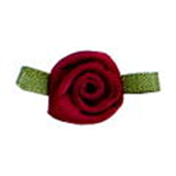 Small Ribbon Roses With Green Leaves 275 Wine