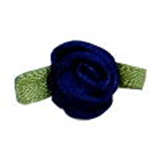 Small Ribbon Roses With Green Leaves 370 Navy Blue