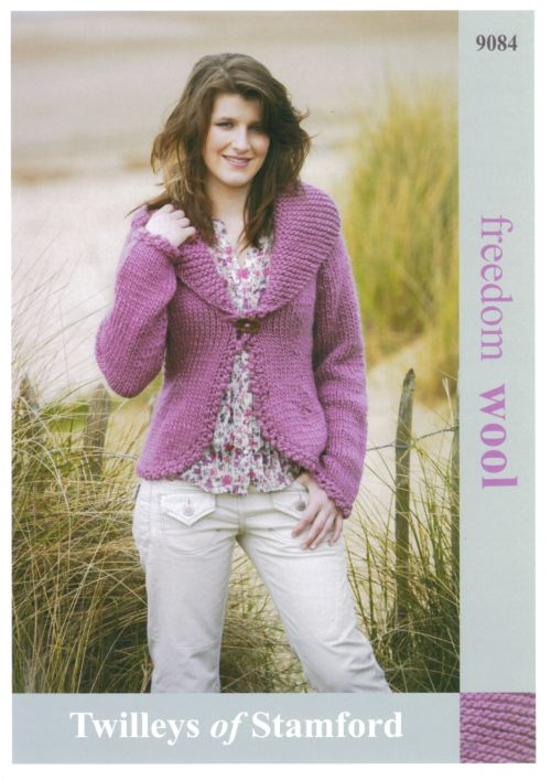 Knitting Pattern For Fitted Jacket : Twilleys Freedom Wool Fitted Jacket Knitting Pattern 9084