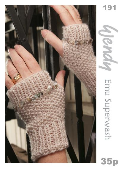 Knitting Pattern Ladies Gloves Dk : Wendy DK Fingerless Mitts Gloves Knitting Pattern 191